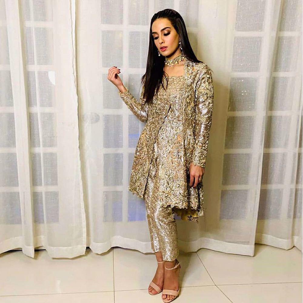 Picture of A trip down the memory lane. The beautiful #iqraaziz glowing wearing #Zainabsalman couture.