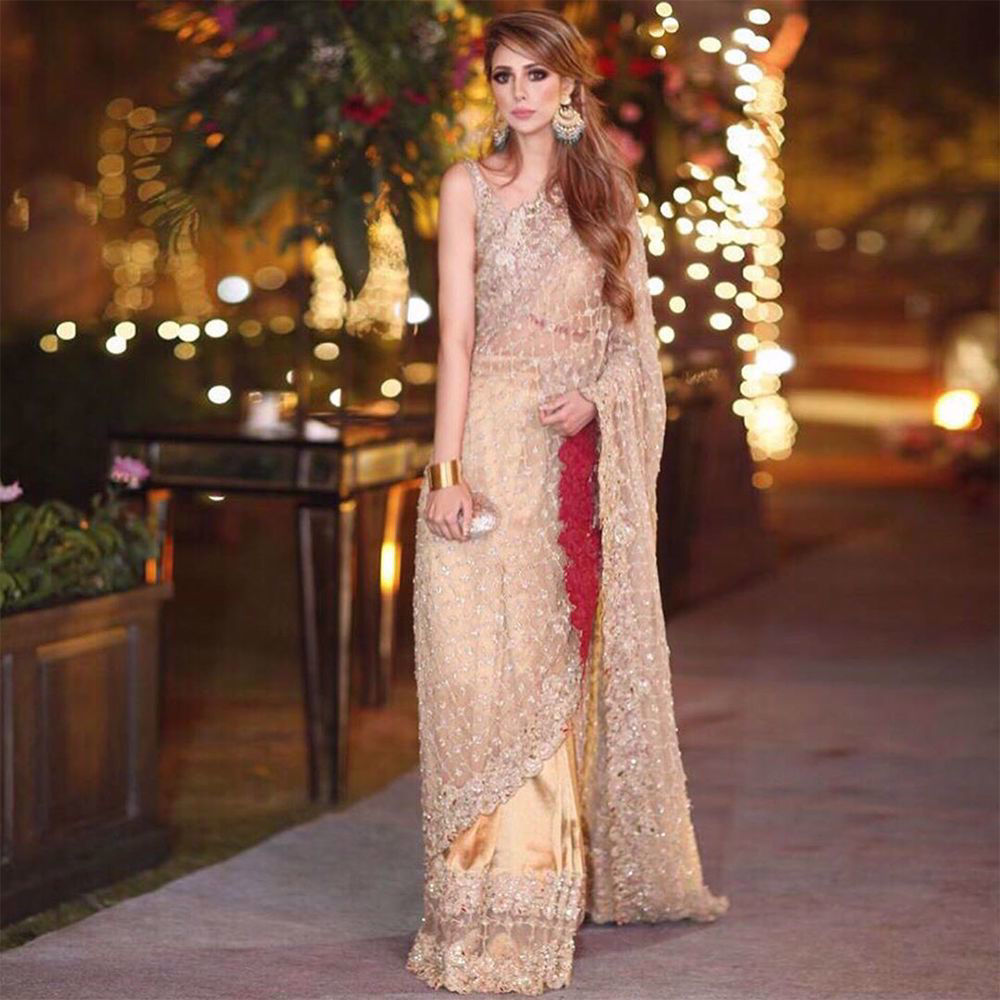 """Picture of The glamorous Anum Ahmad glows wearing """"Lolitta Saree"""" from our collection."""