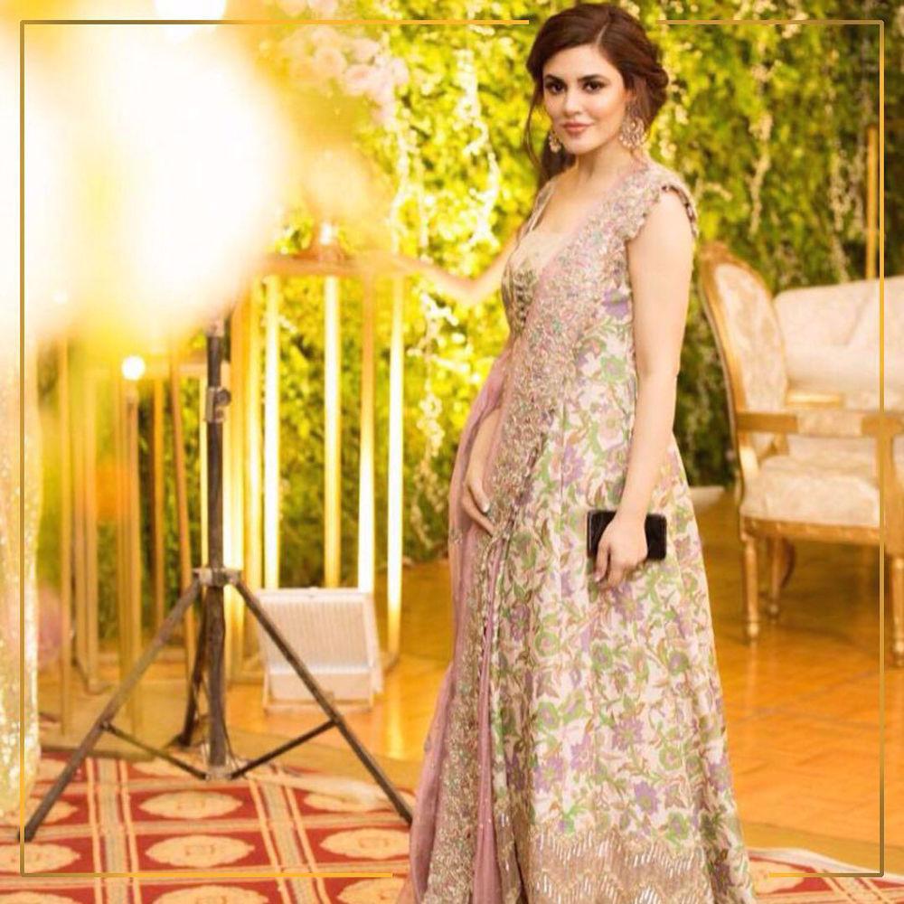 Picture of Ammara Hikmat is a vision at Hamza and NaimalΓÇÖs wedding in a bespoke Sozan Kaar peshwaas